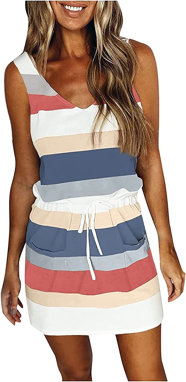 Casual V Neck Sleeveless Strap Summer Dress Color Block Strips High Waist Fit Size Comfy Drawstring Pockets Midi Dress
