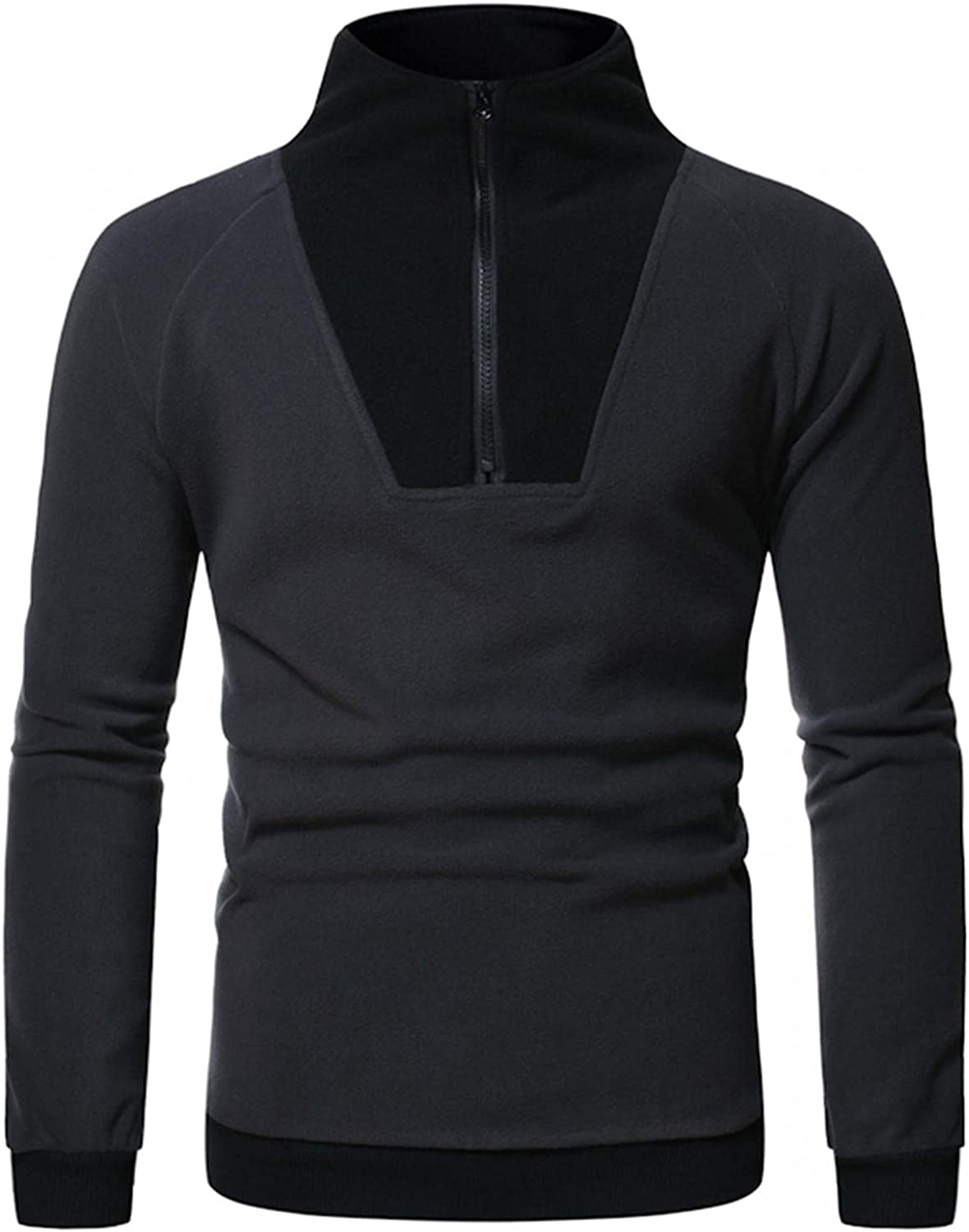 Huangse Men's Zip up Jacket Plain Long Sleeve Pullover Sweatshirts Casual Workout Active Sport Sweaters Tee Shirts Tops