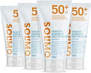 Marca Amazon - Solimo - SUN - Crema solar facial para pieles sensibles FPS 50+ con vitamin E antioxidante (4x50 ml)