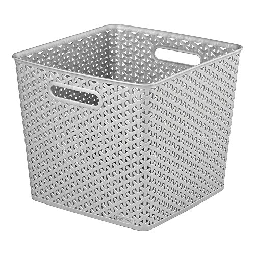 CURVER | Rangement Aspect rotin empilable L carré - My Style, Argent, Storage Others, 32,3x32x28,1 cm