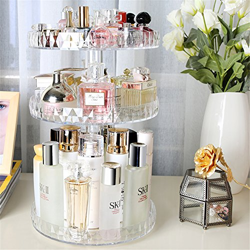 Botides Diamond Cosmetic Storage Box Transparent Acrylic Swivel Shelf Desktop Skin Care Product Dresser Finishing