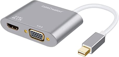 Mini DisplayPort to HDMI VGA Adapter, CableCreation 2 in 1 Mini DP (Thunderbolt 2) Converter Hub Compatible with MacBook, ...