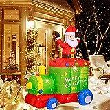 Cakunmik Papá Noel Inflable con Tren, Navidad Iluminada LED Luces Blowup Interior al Aire Libre Patio de jardín Photo Foto de la Fiesta de Navidad Decoración de la Navidad Iluminación del Patio