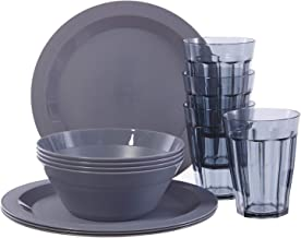 Cambridge Plastic Plate, Bowl and Tumbler Dinnerware | 12-piece set Grey