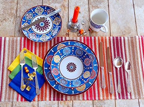 Tudor 16-Piece Premium Quality Porcelain Dinnerware Set, Service for 4 - Sumaya BLUE,See 10 Designs Inside!