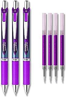 Pentel EnerGel Deluxe RTX Liquid Gel Ink Pen Set Kit, Pack of 3 with 4 Refills (Violet - 0.5mm)