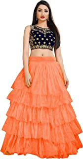 فستان ليهينغا تشولي شبه مخيط بلون برتقالي للنساء