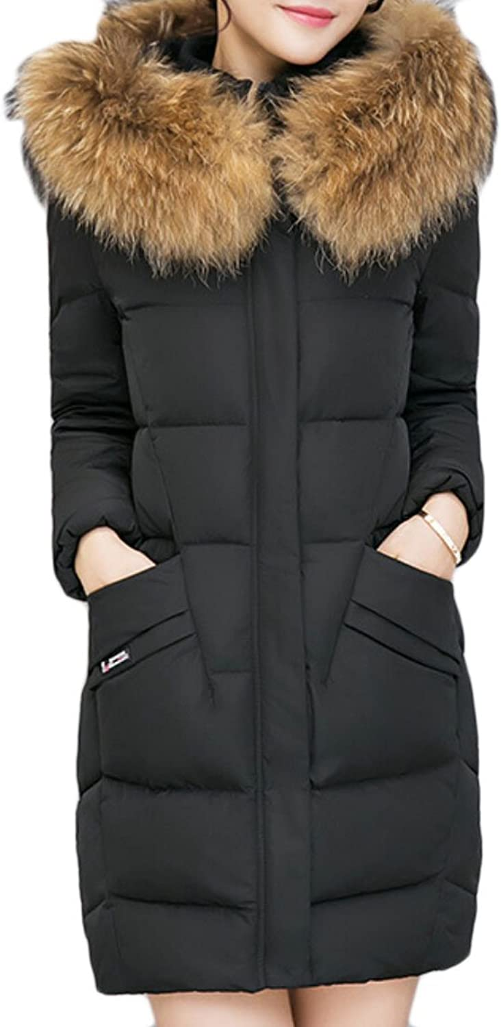 Gocgt Women's Fashion Down Coat With Faux Fur Hooded Long Parka Puffer Down Jacket