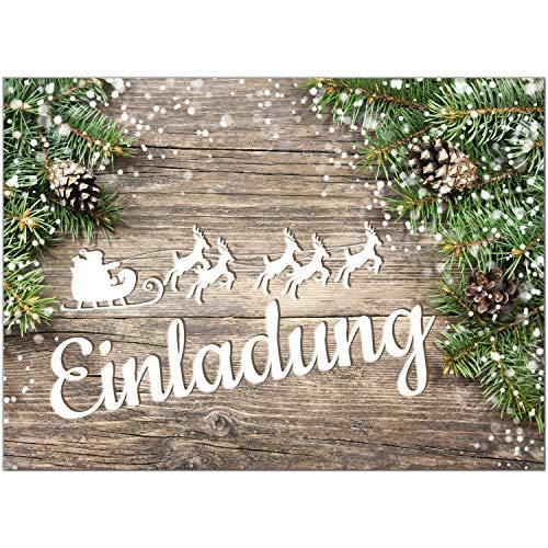 15 x Einladungskarten mit Umschlag zur Weihnachtsfeier/Motiv: Rustikale Tannen/Weihnachten/Christmas Party/Einladung/für Firmen