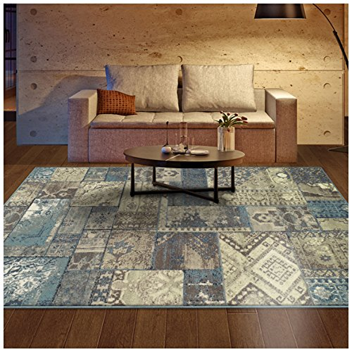 Superior Area Rug 2' x 3' 10mm Pile Height with Jute Backing, Woven Fashionable and Affordable Zedler Collection, Blue-Beige