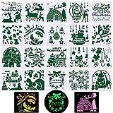 20 Plantillas Dibujos Pintura Navidad 13x13cm Plantillas para Pintar Navideñas Sténcil Plástico para Manualidades Decoración