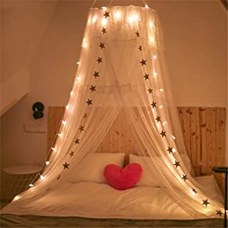 JBailmx White Lace Anti-Mosquito Net Canopy, Macrame Dome Tent with LED Sleeping Bulb, Provides Effective Mosquito Repellent, Bed Canopy Mosquito Repellent Insect Net, Height 270Cm,1.2M/4FtBed