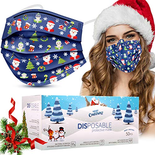 Disposable Face Masks, 50 Pcs Christmas Face Masks (Adult, Blue)