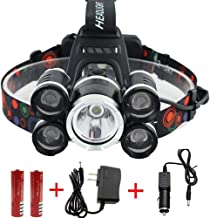 M&J Waterproof 12000 Lumen 5 Led Headlamp XML T6+4Q5 Head Lamp Powerful Led Headlight, Rechargeable Flashlight Head Lights for Camping, Hiking