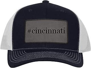 One Legging it Around #Cincinnati - Leather Hashtag Grey Patch Engraved Trucker Hat