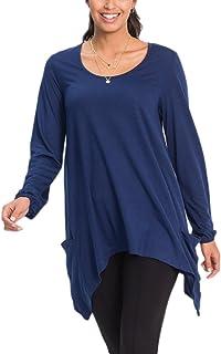 246ff32c365a9 Les Femmes des Rayures Manches Longues Chemises Pouce Trou Diapositive  Fente Tunique
