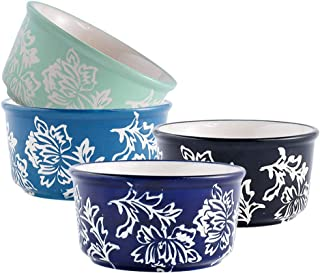 Set of 4 Porcelain Ramekins, Wisenvoy Hand Painted Elegance Flower Design Ceramic Durable Creme Brulee Dishes for Baking, Dessert, Snack, Souffle, Custard Cups and Pudding Cups Set, Four Colors