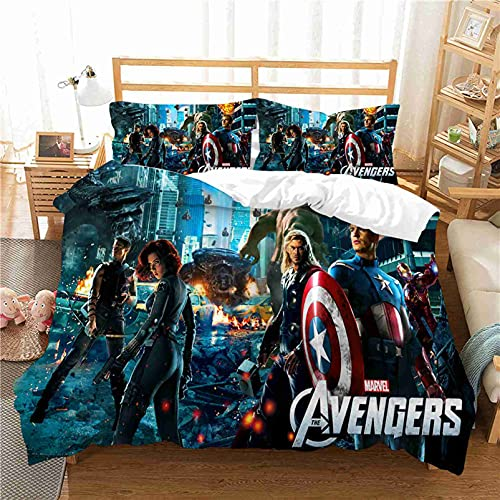 WHSNA Marvel Comics Avengers - Set di biancheria da letto per bambini, copripiumino e federe, in microfibra, stampa digitale 3D, set di biancheria da letto (8,200 x 200 cm)