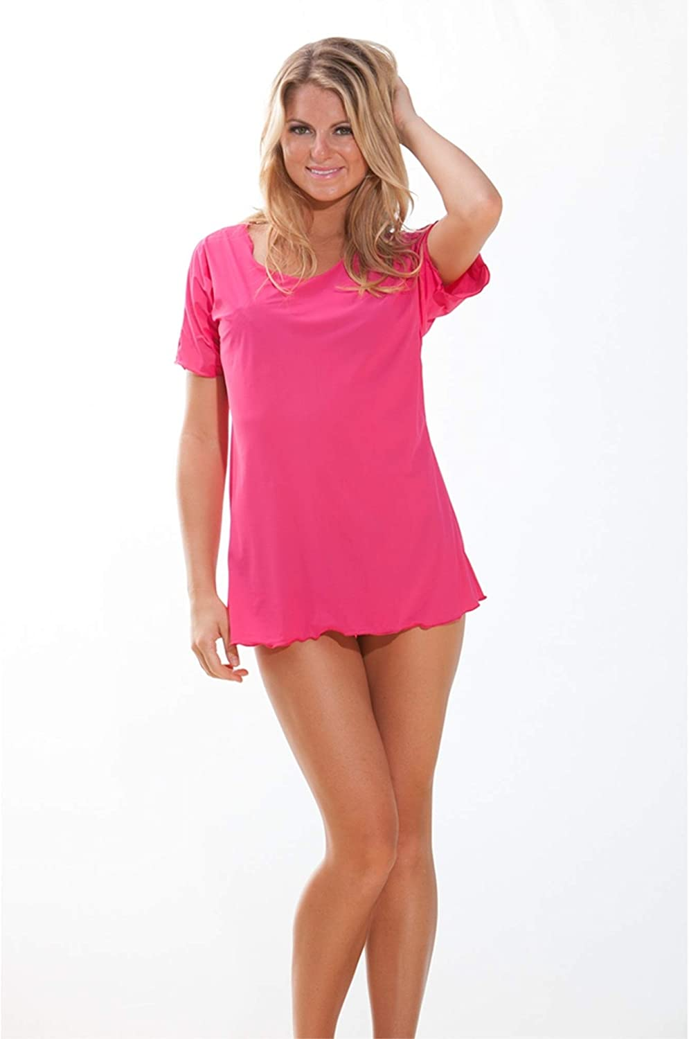 bluee Sky Swimwear Fushia Short Sleeve Cover Up Dress (Cover Up Only) Small Pink