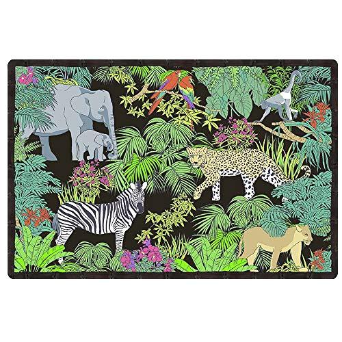 Les Jardins de la Comtesse - Rechthoekige placemat - Set van 6 - in polypropyleen - Hoge kwaliteit tafelmat - Gemakkelijk te wassen - Bedrukt Jungle ontwerp - Zwart/Groen/Rood - 45 x 30 cm