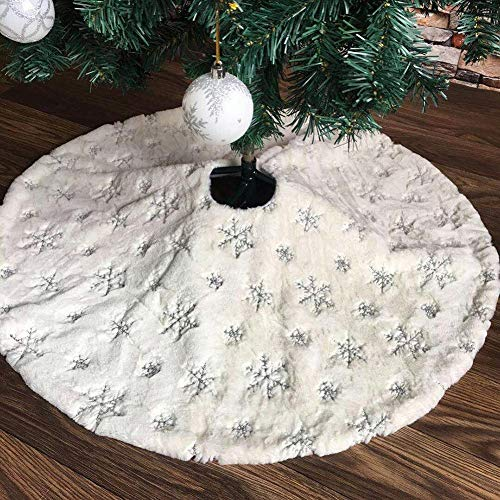 Demiawaking Gonna per Albero di Natale in Pelliccia Sintetica con Fiocco di Neve Ricamato Tappeto Albero di Natale Copertura Base Albero Natale Decorazione Natalizia (Argento, 122 cm)