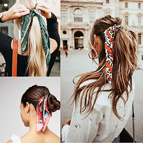 Beauty Wig World Hair Scarf Silk Scrunchies Ponytail - (4 Pack) Chain Detail Unique Hair Ties Designs to match Different Outfits – Satin Silk Hair Bands for Women Teen Tween Hair Scarves Tie 9