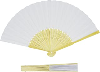 Grosun 10 Packs White Bamboo Folding Fan Handheld Fan Paper Folded Fan for Wedding Party and Home Decoration