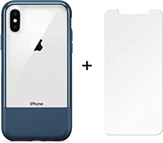 OtterBox Ultra Slim Case for iPhone X and iPhone Xs with Alpha Glass Screen Protector - Leather Accent and Scratch Resistant - Retail Packaging - Jade Deep Blue/Clear