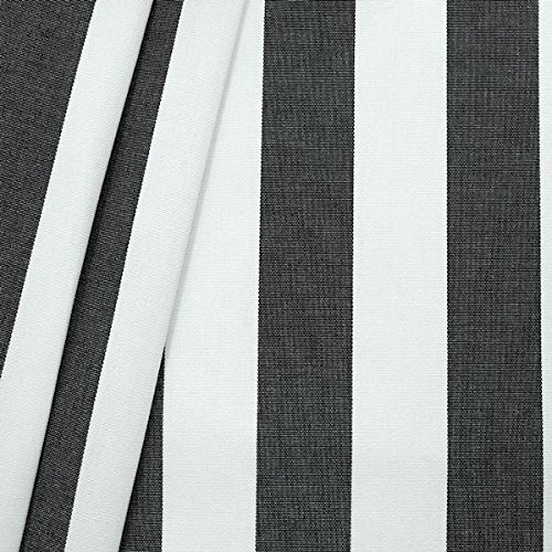 Markisenstoff Outdoorstoff Streifen Breite 160cm Meterware Schwarz-Weiss