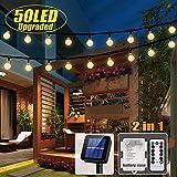 50 LED Solar Lichterkette und Batterie(2 in 1) 8 Modi Batteriebetrieben Outdoor Lichter Wasserfest...