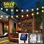 iihome Solar Garden Lights, 60 LED 36ft Waterproof Outdoor String Lights Solar Powered Crystal Ball Decorative Lights…