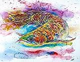 TISAGUER 5D Diamante Pintura por Número Kit,Arowana Fish Magic Feng Shui Acuario Pez dragón chino Símbolo de agua Escala dorada,Bricolaje Diamond Painting kit completo Bordado Decoración del hogar