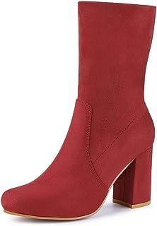 Allegra K Women's Block Heel Foldable Stretch Ankle Boots