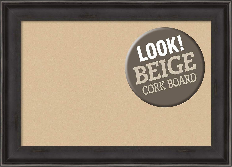 Framed Beige Cork Board Medium, Allure Charcoal  Outer Size 28 x 20