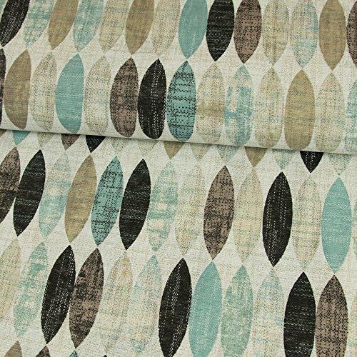 Dekostoff ovales Retro Muster Mint Canvasstoff - Preis Gilt für 0,5 Meter -