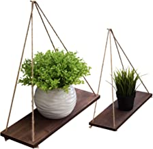 Space Art Deco, Set of 2-16 Inch Floating Wall Shelves - Brown Wood Finish Design - Rope Hanging Wall Display - Great for Home, Office, Bathroom, Kitchen