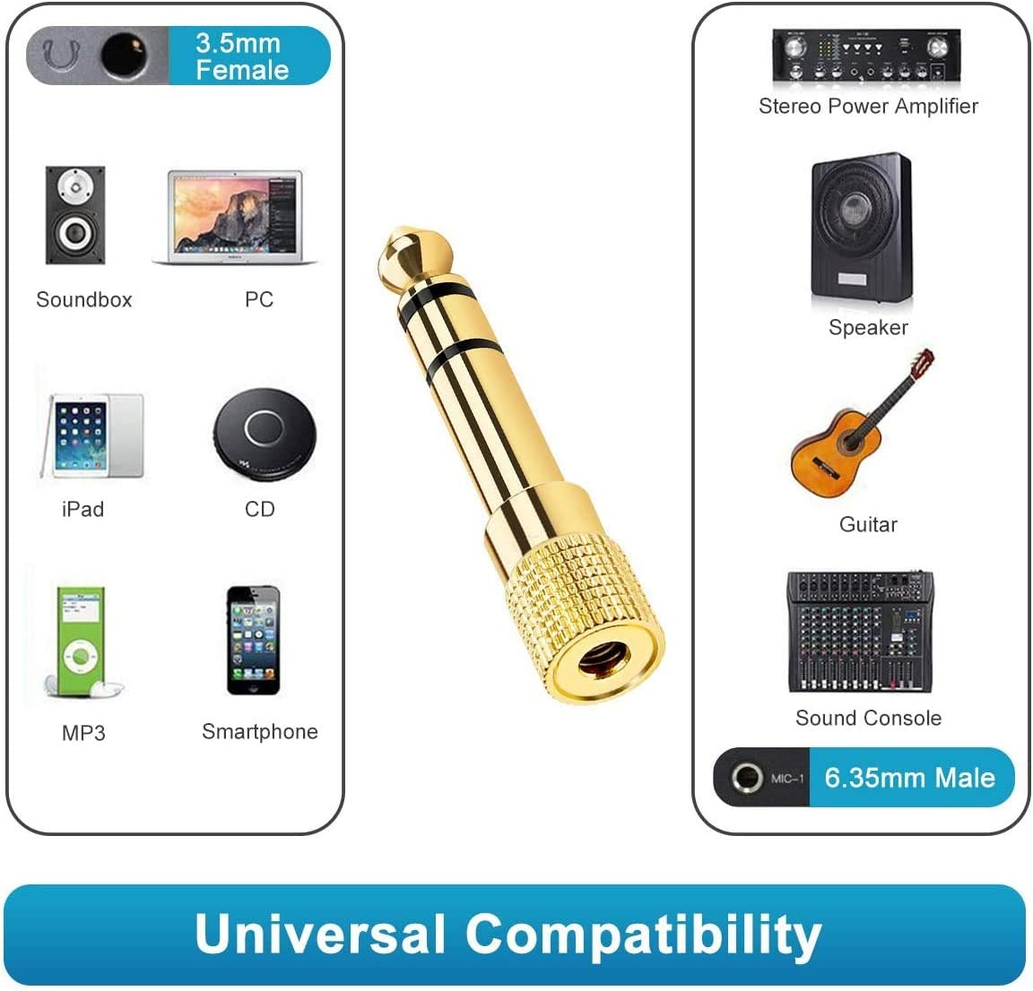 Gold-Plated 3.5mm 1//8 inch to 6.35mm 1//4 inch Female to Male Audio Plug Adaptor for Digital Piano 3.5mm to 6.35mm Stereo Aux Jack Headphone Adapter etc 1-PAKC Headphones Adapter Keyboard