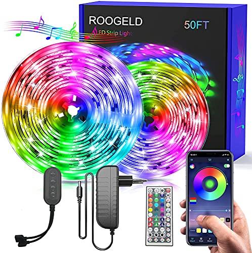 Tira de luces LED con Bluetooth, RGB, cambio de color, 6 m, controlable a través de la aplicación, 16 millones de colores, sincronización con música, banda LED para dormitorio, TV, hogar, armario