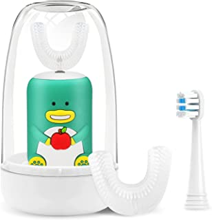 Kids Electric Toothbrushes, U Shaped Ultrasonic Autobrush Toothbrush, Rechargeable Kids Toothbrush, with 2 Brush Heads, Br...