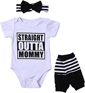 3PCS Outfit Set Newborn Toddler Baby Girl Clothes Romper+ Leg Warmers+ Bow Headband
