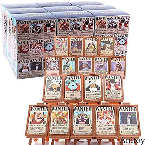 Hot Toy Anime One Piece Luffy Nami Zoro Sanji Chopper Wanted Carteles Marco de Fotos Figura de acción Juguete Coleccionable 18pcs / Set A con Caja al por Menor-si-una