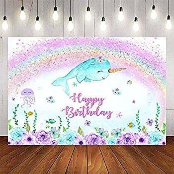 Avezano Girl Narwhal Birthday Backdrop Under The Sea Purple Flowers Photo Background Glitter Rainbow Birthday Party Decoration Banner  8x6ft