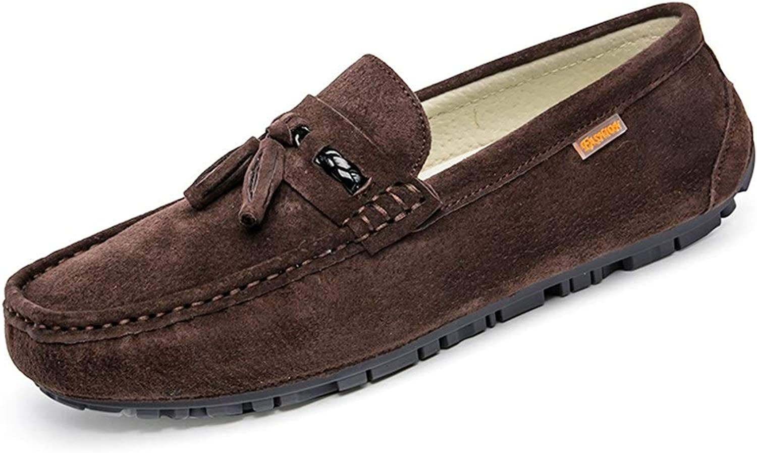 Easy Go Shopping Drive Loafers For Men Boat Moccasins Suede Pigskin Slip On shoes with Classical Tassel Fashion Breathable Lightweight Cricket shoes (color   Brown, Size   7 UK)