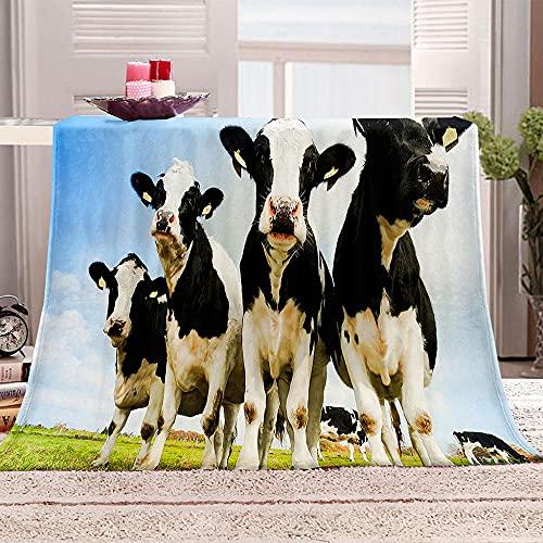 Manta con Estampado Vaca Animal Pradera Mantas para Sofa Manta de Microfibra Franela Throw de Microfibra Suave cálida y sólida para Cama sofá y Viaje 150x200cm