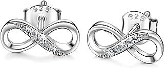 Billie Bijoux Women Earrings Studs 925 Sterling Silver Dangle Drop Earrings Infinity Love Round Cut CZ Diamond Jewelry Women Girls Gift for Valentine's Day