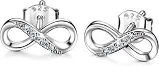 Women 925 Sterling Silver Infinity Dangle Drop Earrings Studs Infinity Love Round Cut CZ Diamond Jewelry Women Girls Gift for Mother's Day (Drop)