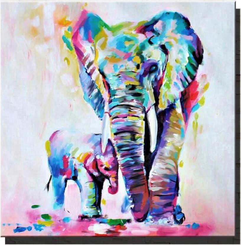 Animal Manufacturer regenerated product San Francisco Mall Canvas Wall Art WALTSOM Painting Oil Elephant Framed Mod
