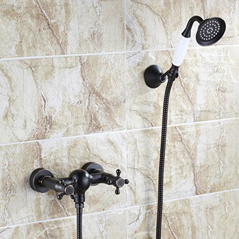 Bijjaladeva Wasserhahn Bad Wasserfall Mischbatterie Waschbecken Waschtisch Armatur für BadezimmerSchwarz Dusche Kit Wand - Einfache Regendusche Wasserhahn Bad Dusche Kit Wand-B