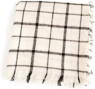 WUNONG-AU White Plaid Square Scarf Imitation Cashmere Scarf Keep Warm Shawl Autumn Winter Black Plaid Scarf (Color : Beige, Size : 140cm)