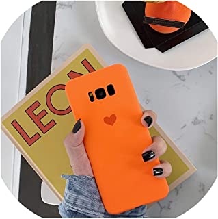 Candy Plain Soft Silicone Love Heart Phone Case for Samsung Galaxy S10 S8 S9 Plus Note 8 9 S7 S7Edge C7 C9 Pro Cover,for Galaxy C9pro,Orange
